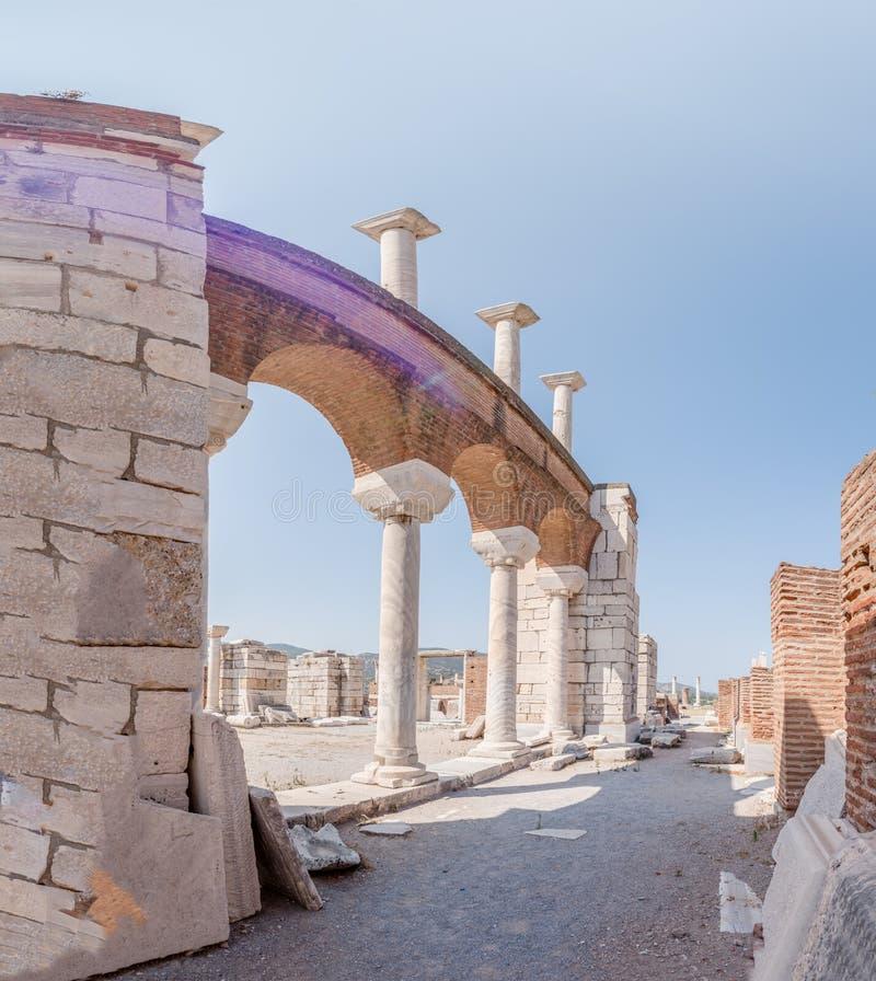 StJohnbasiliek bij Ayasuluk-Heuvel in Ephesus Selcuk, Izmir, Turkije stock foto