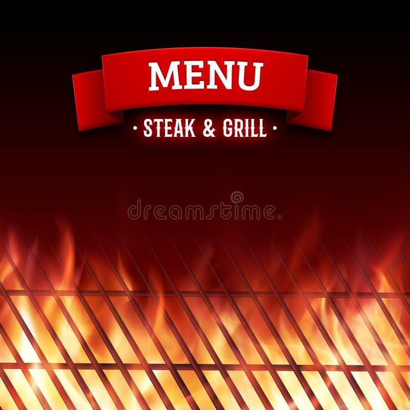 Stku i grilla domowy menu Wektorowy tło ilustracja wektor
