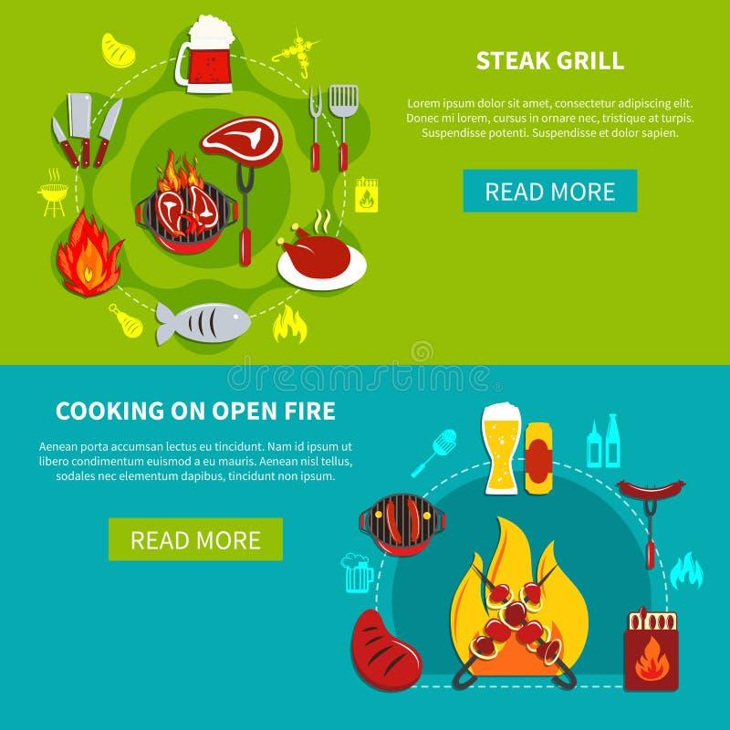 Stku kucharstwo I grill Dalej Otwieraliśmy Ogień mieszkanie royalty ilustracja