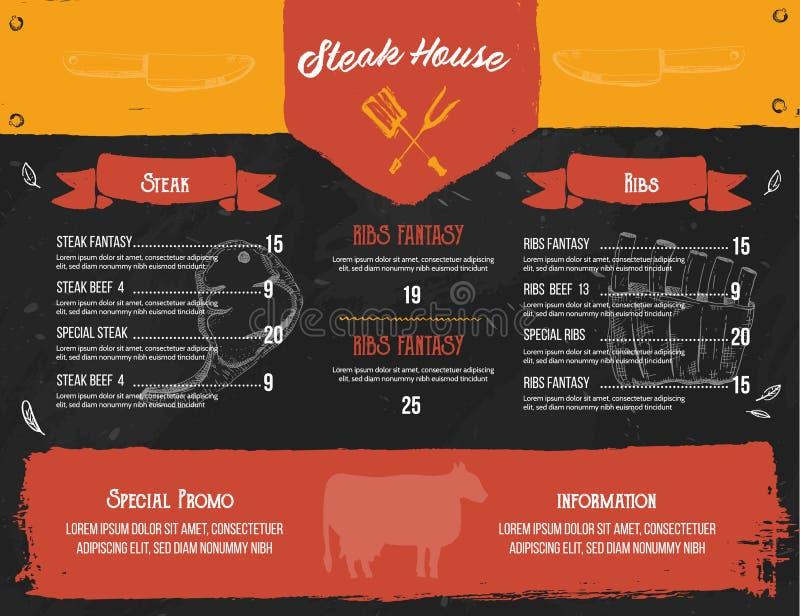 Stku menu projekt BBQ grilla plakat z nakre?lenie ikonami E ilustracja wektor