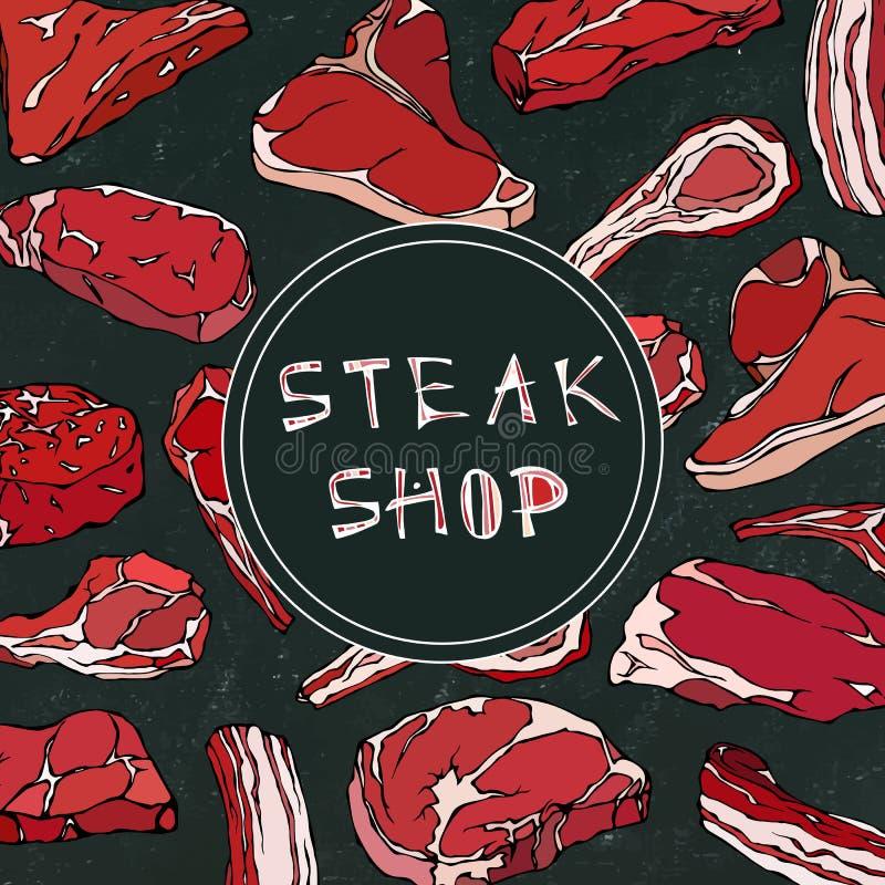 Stku sklepu karta z Mięsnymi produktami Restauracyjny menu lub masarka Targowy szablon Wołowina stek, baranek, wieprzowina ziobro royalty ilustracja