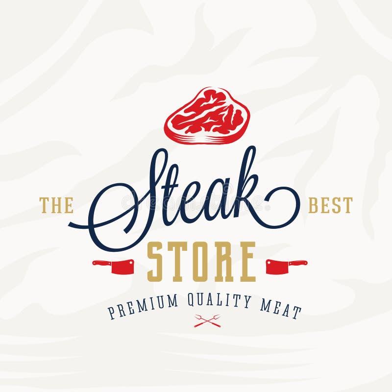 Stku sklepu rocznika typografii etykietka, emblemat lub loga szablon Najlepszy, Premii ilości mięsa znak Butchery i grill ilustracja wektor
