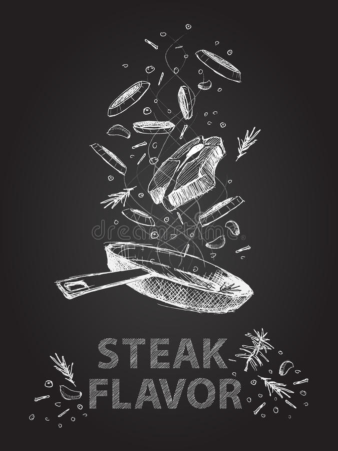Stku smak przytacza ilustrację na chalkboard ilustracji