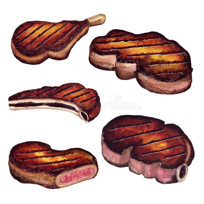 Stku soczysty mięso piec na grillu grill - akwareli nakreślenie ilustracji