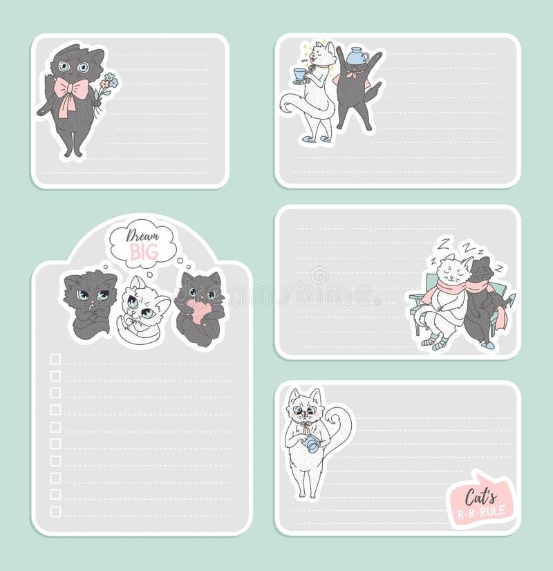 Stlickers lindos de los gatos y diseño imprimible de las notas libre illustration