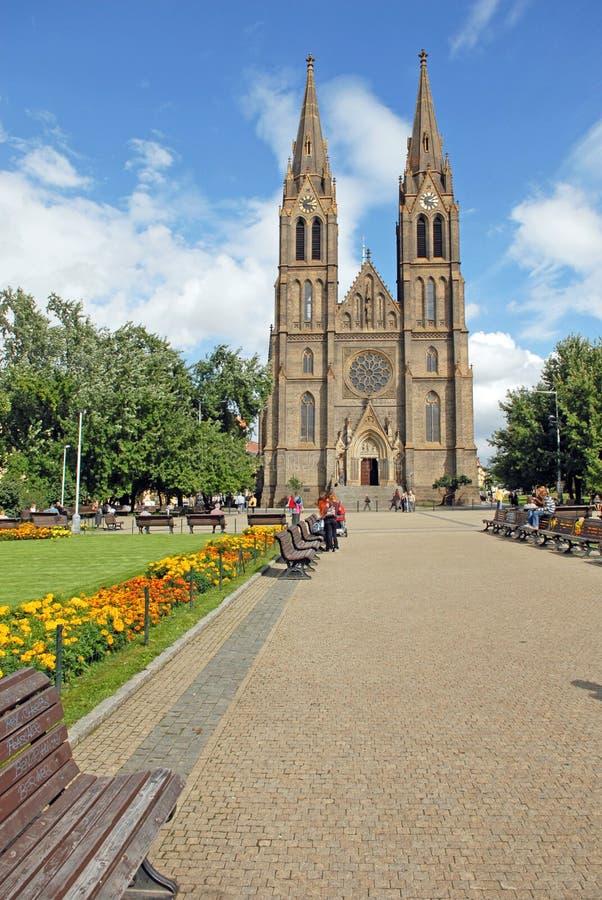 StLudmilla-Kirche in Prag, Tschechische Republik stockfotografie