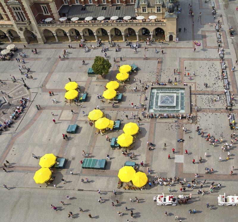 从StMary教会看的主要集市广场,克拉科夫,波兰 库存照片
