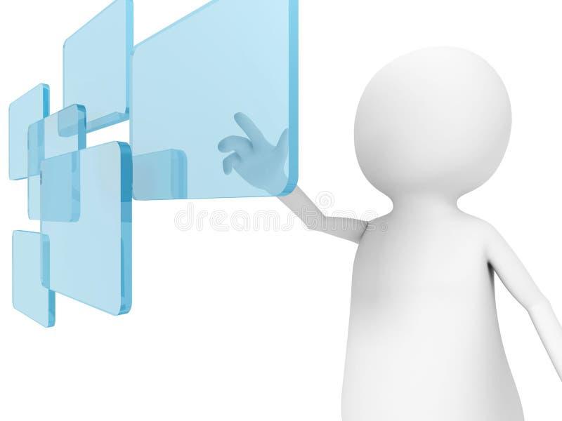 Stoß des Mannes 3d ein digitaler Touch Screen in einer Luft lizenzfreie abbildung