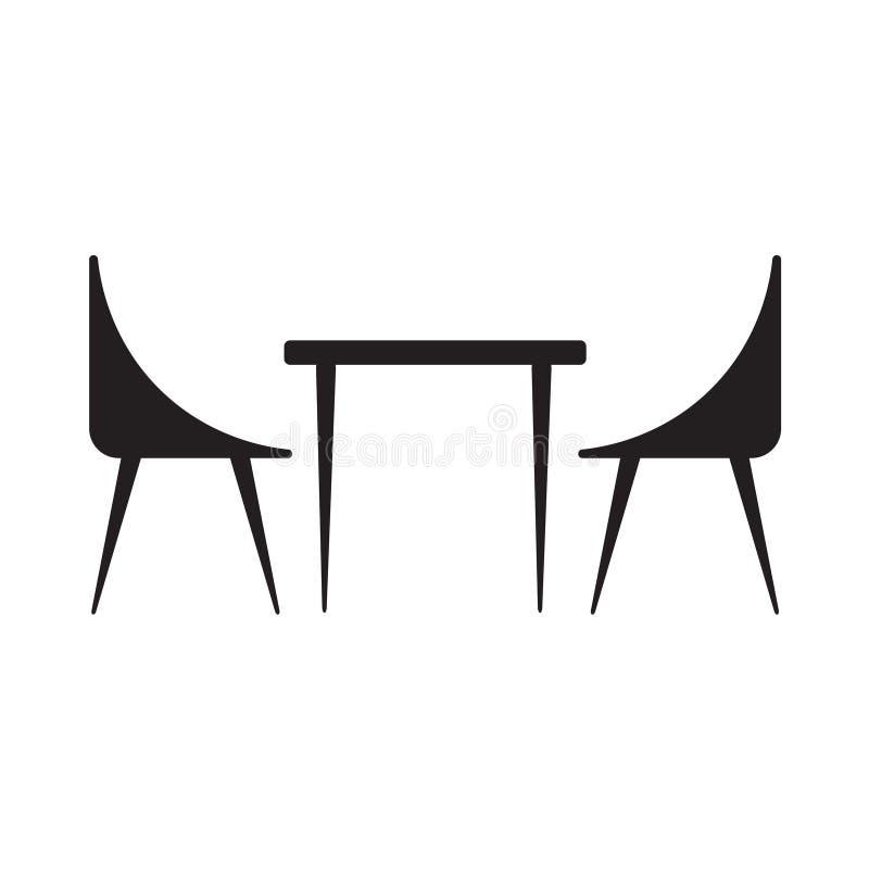 Stołowa i krzesła ikona ilustracji