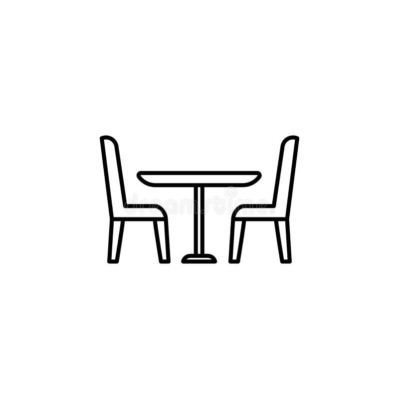 Stołowa i krzesła ikona Element meble dla mobilnych pojęcia i sieci apps Cienka kreskowa ikona dla strona internetowa projekta i  ilustracji