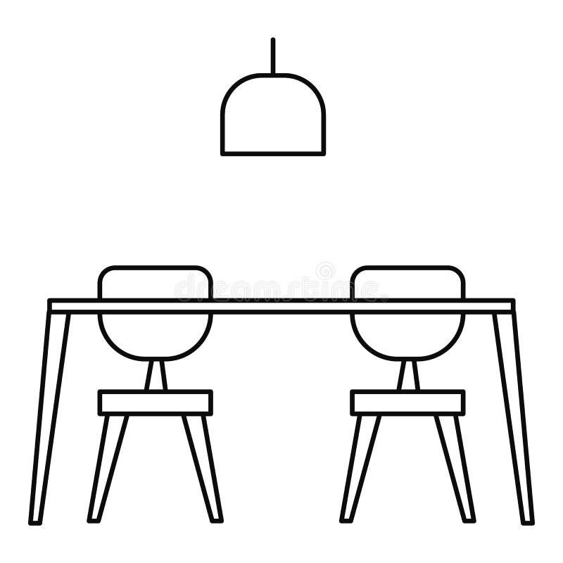 Stołowa i krzesła ikona, konturu styl ilustracja wektor
