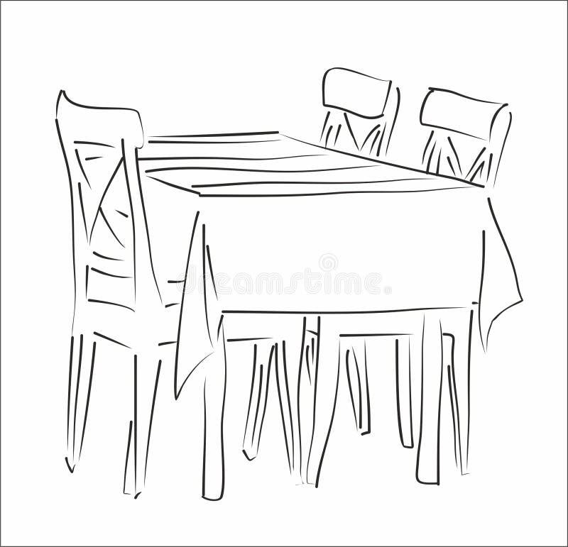 Stołowa i krzesła sylwetka fotografia stock