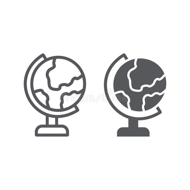 Stołowa kuli ziemskiej linia, glif ikona, edukacja i geografia, światowej mapy znak, wektorowe grafika, liniowy wzór na bielu ilustracja wektor