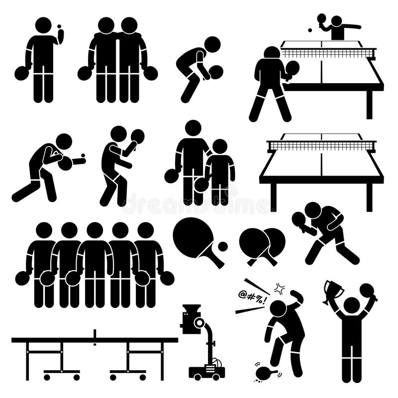 Stołowe gracz w tenisa akcj pozy Cliparts ilustracji