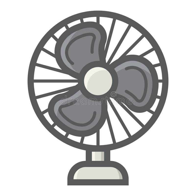 Stołowego fan kolorowa kreskowa ikona, gospodarstwa domowego urządzenie ilustracji