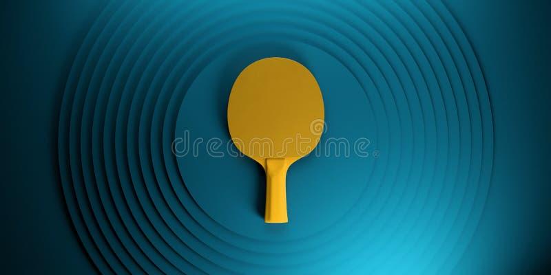 Stołowego tenisa lub śwista pong kant turnieju plakatowy projekt na abstrakcjonistycznej kolorów okregów backgroung 3d ilustraci royalty ilustracja