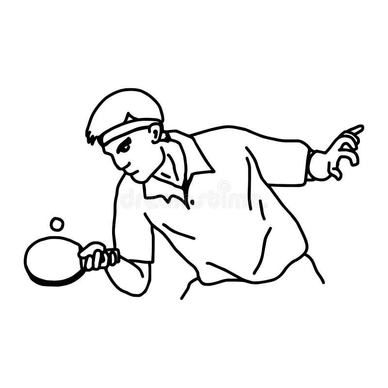Stołowy gracz w tenisa - wektorowa ilustracyjna nakreślenie ręka rysująca z ilustracji