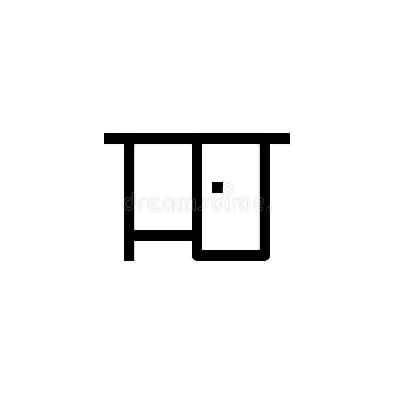 Stołowy ikona projekt dla workspace symbolu prostego czystego kreskowej sztuki zarządzania przedsiębiorstwem fachowego pojęcia we ilustracja wektor