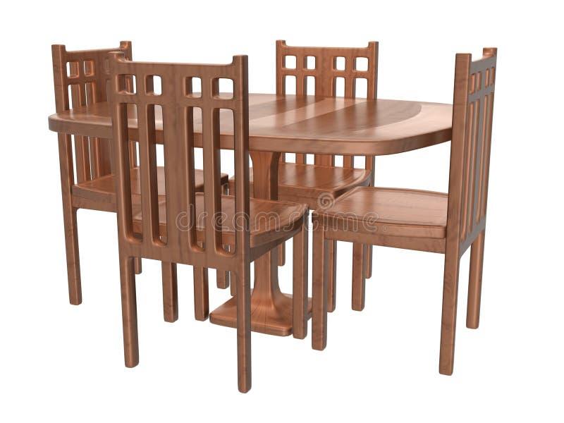 Stołowy krzesło Set_Raster ilustracji