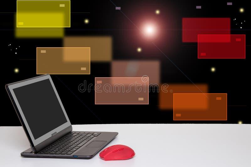Stołowy wierzchołek na komputerowym tle Nowożytny przenośny laptop z pustym ekranem na bielu stole nad abstrakcjonistyczną nową f ilustracja wektor