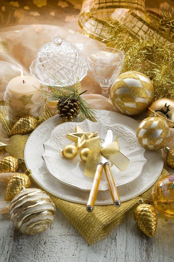 stołowy złota xmas fotografia stock