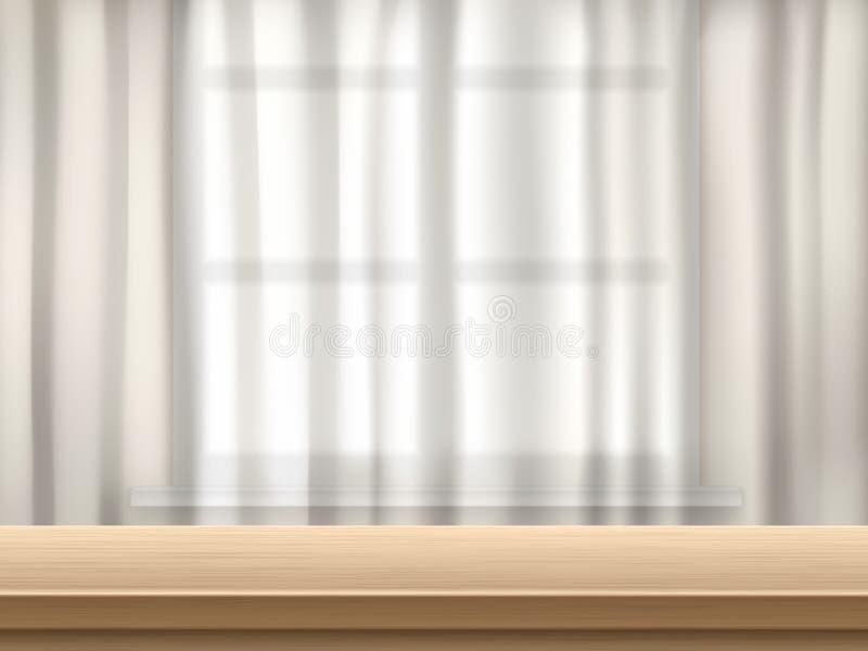 Stołu i zasłony tło ilustracji
