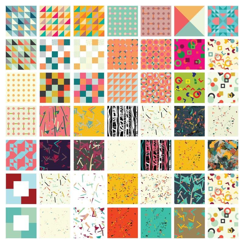 Sto cech ogólnych różnych geometrycznych bezszwowych wzorów ilustracja wektor