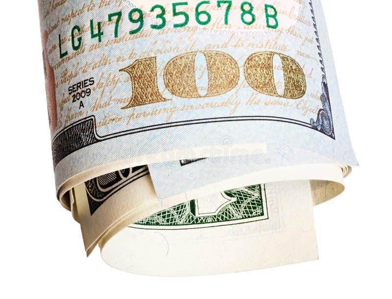 Sto dolarów notatek, odizolowywający na bielu nowa próbka wystawia rachunek w górę Brogujący wizerunek obrazy stock