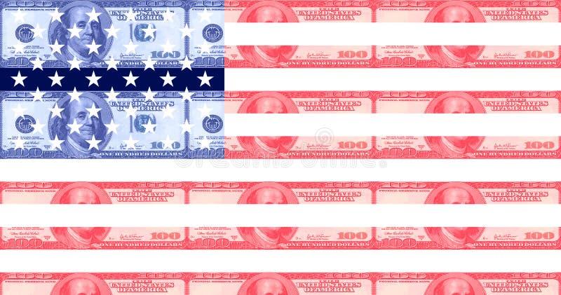 Sto dolarowego rachunku flaga amerykańskich ilustracji
