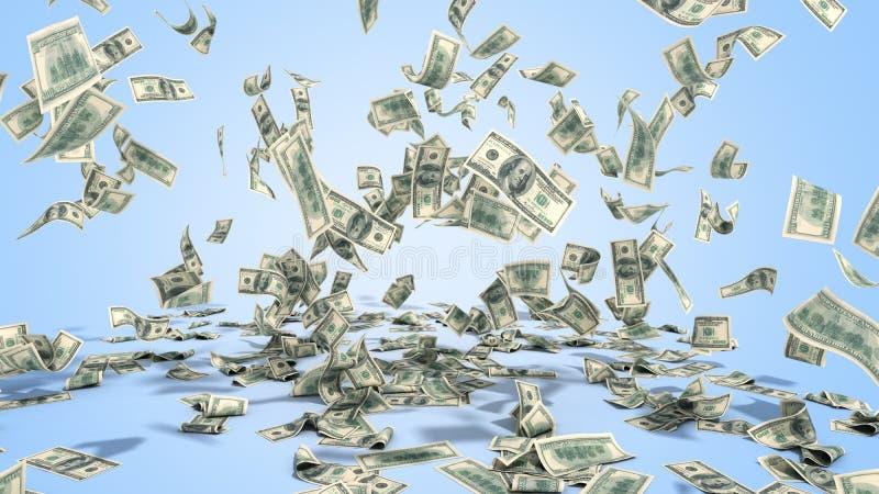 Sto dolarowych banknotów spadają na graund na błękitnym tle ilustracji