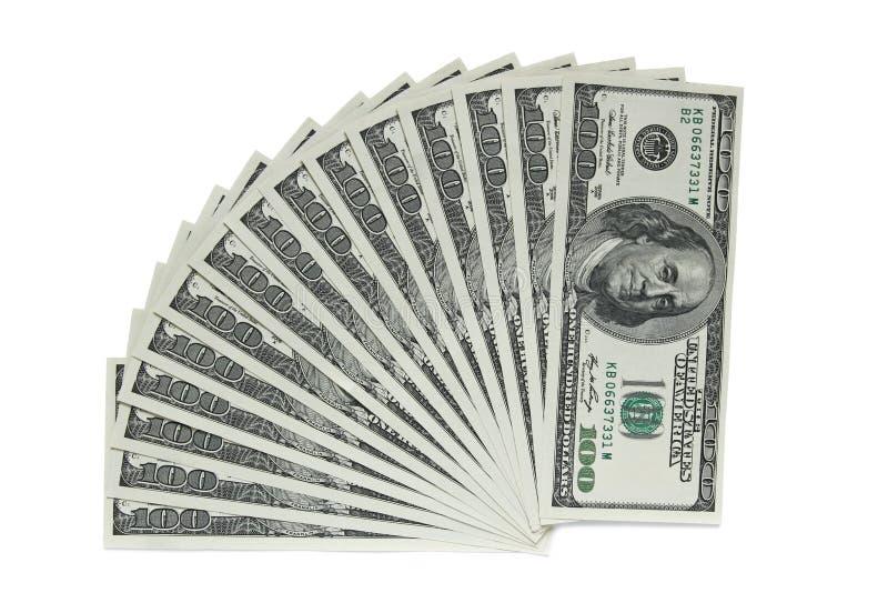 Sto dolarowych banknotów na białym tle obraz stock