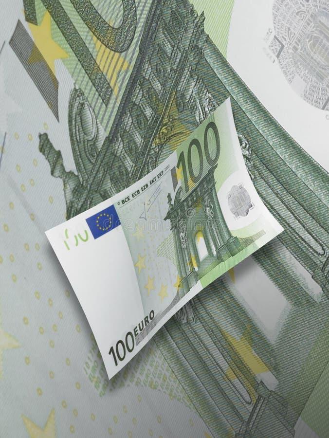 Sto euro rachunków kolaży z zielonym brzmieniem obraz royalty free