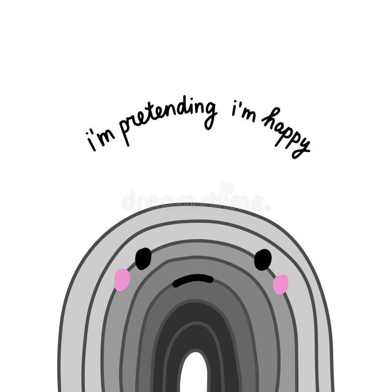Sto fingendo l'illustrazione disegnata a mano felice di vettore nello stile del fumetto Depressione di sorriso della natura illustrazione vettoriale