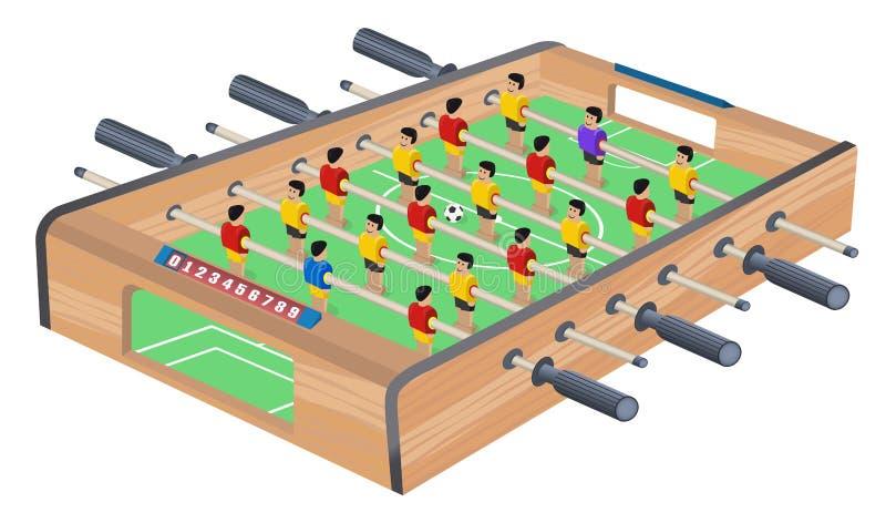 Sto?owy meczu futbolowego hobby lub czasu wolnego Isometric widok Drewniana Stołowa piłka nożna Sport drużyny gracz futbolu Dla r royalty ilustracja