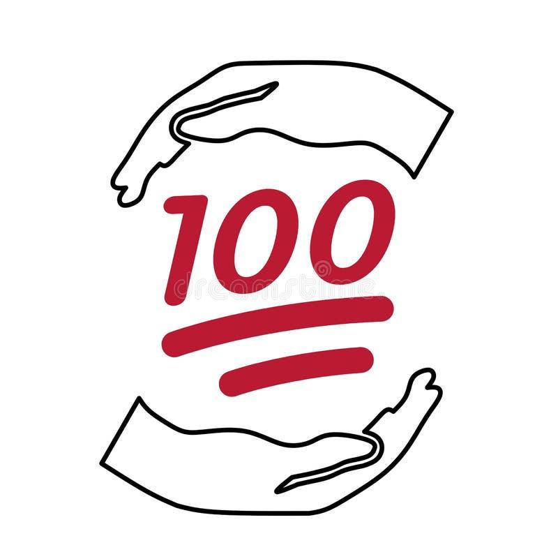 Sto pewnych certainot Care1 ręk gaceń pielęgnuje 100 dwoistej linii czerwieni liczb ilustracji