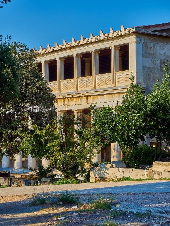 Stoa d'Attalos à l'agora antique d'Athènes La Grèce photographie stock libre de droits