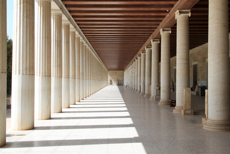 Stoa van Attalos, Athene, Griekenland stock afbeeldingen