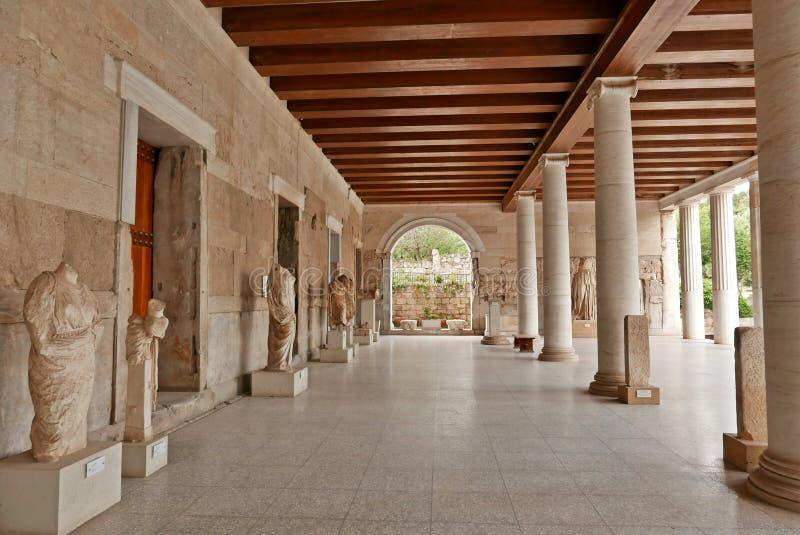 Stoa van Oud Agora Athene van Attalos stock afbeelding