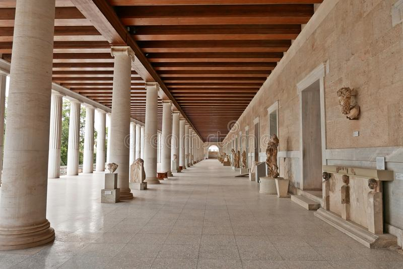 Stoa van Oud Agora Athene van Attalos royalty-vrije stock foto