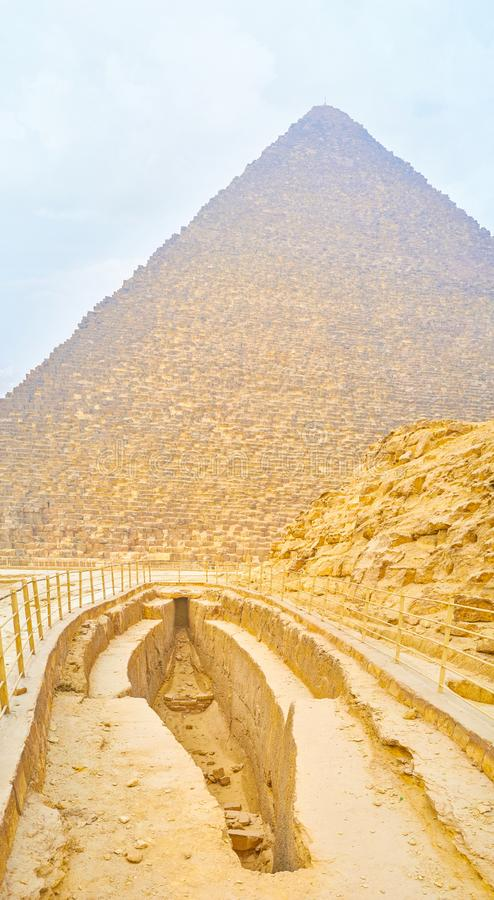 Stobefartyggropen i den Giza nekropolen, Egypten royaltyfria foton