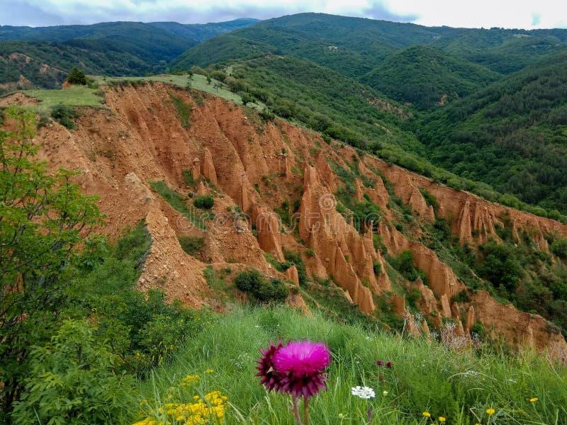 Stobs pyramids - bizarre sedimentary rocks in the Rila mountains of Bulgaria stock images