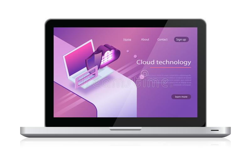 Stoccaggio della nuvola di concetti Stanza isometrica di vettore, di web hosting e del server computer portatile di calcolo e web illustrazione vettoriale