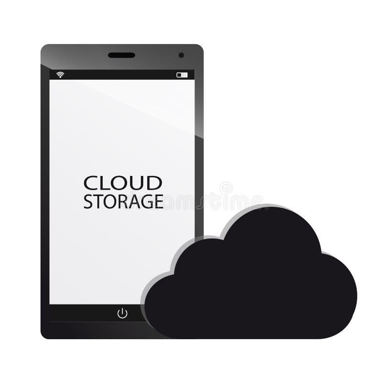 Stoccaggio della nuvola e concetto dello Smart Phone illustrazione vettoriale