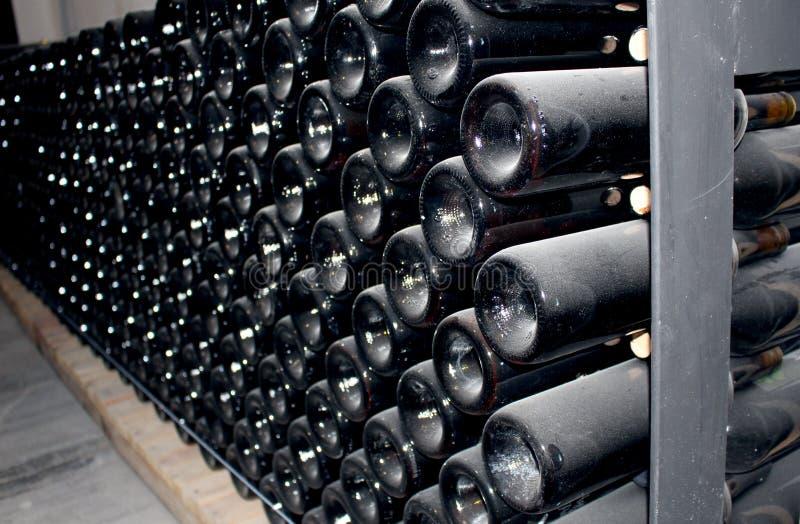Stoccaggio delle bottiglie di vino nel periodo del condimento fotografia stock libera da diritti