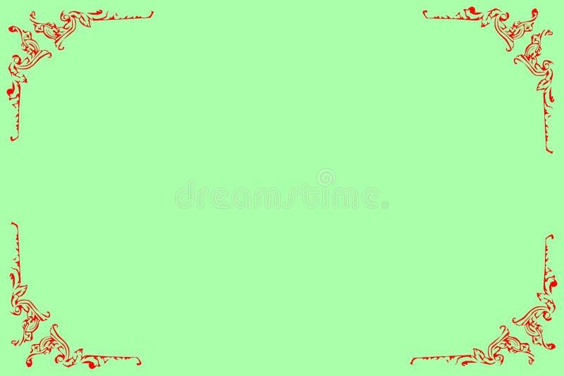 Stoccaggio per la cartolina di congratulazioni con il modello ornamentale rosso lungo gli angoli immagini stock