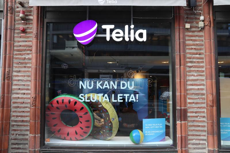 STOCCOLMA, SVEZIA - 23 AGOSTO 2018: Deposito dell'operatore di telecomunicazioni del telio a Stoccolma, Svezia Ci sono più di 14  immagini stock