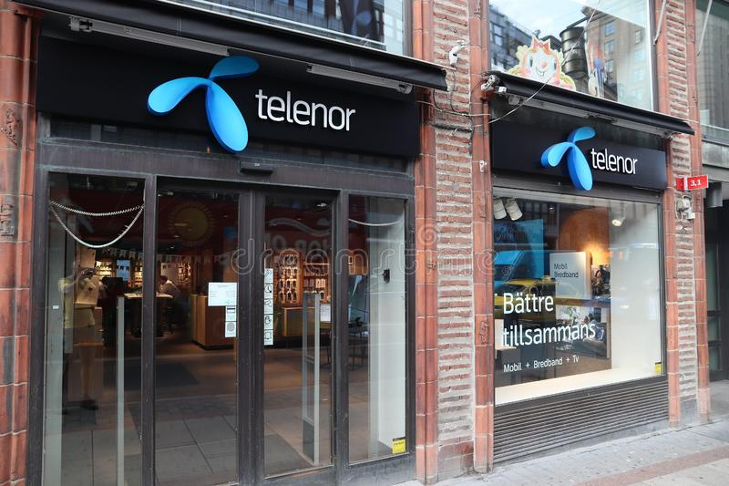 STOCCOLMA, SVEZIA - 23 AGOSTO 2018: Deposito dell'operatore di telecomunicazioni di Telenor a Stoccolma, Svezia C'è più di 14 immagine stock libera da diritti
