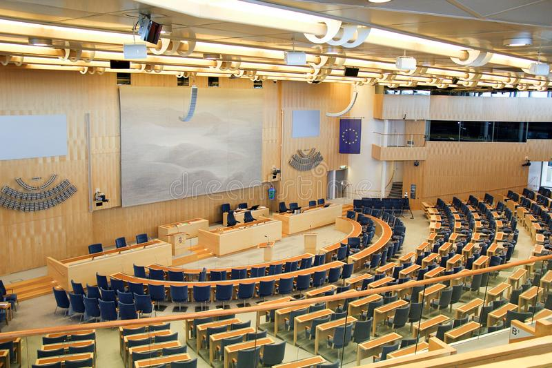 Stoccolma, Svezia - 2018 09 30: Interno del Parlamento di Stoccolma dentro immagini stock