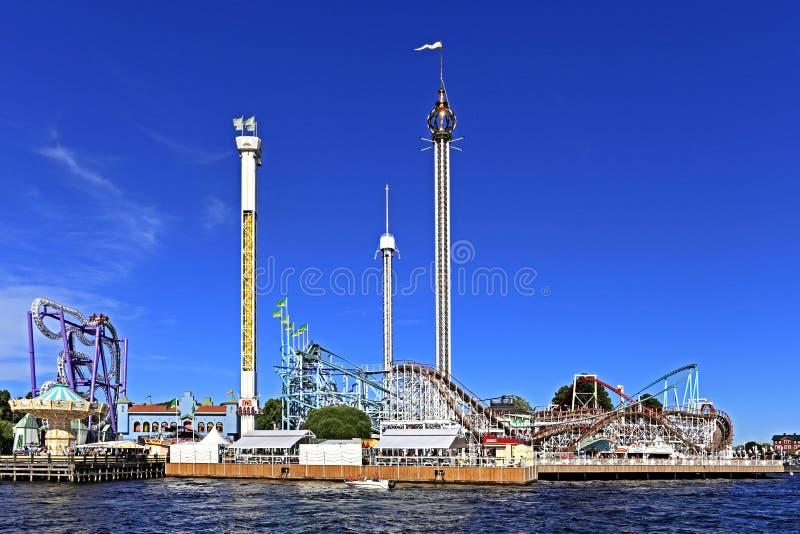 Stoccolma, Svezia - Tivoli Grona Lund - Gronan - parco di divertimenti fotografie stock