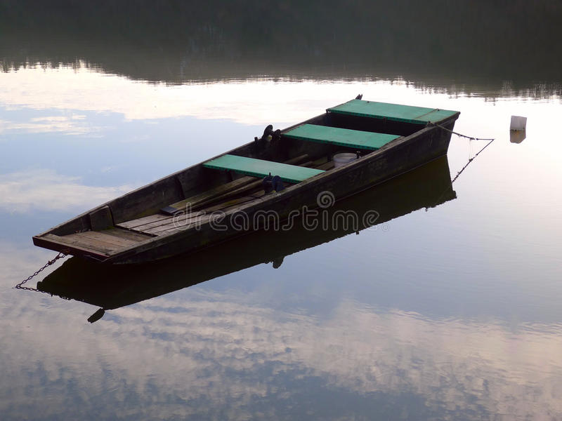 Stocherkahn auf dem Fluss stockfotografie